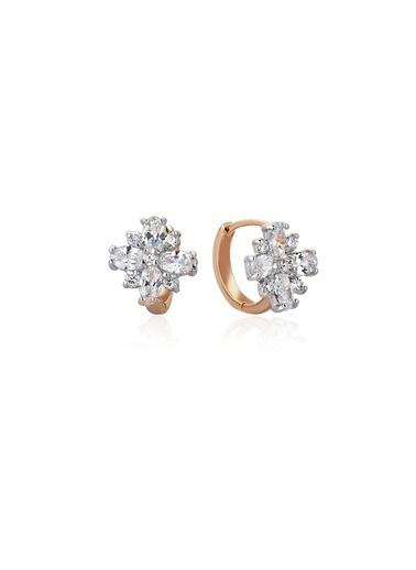 Tophills Diamond Co. 2,40 Ct Pırlants Efekt Altın Flora Küpe Renkli